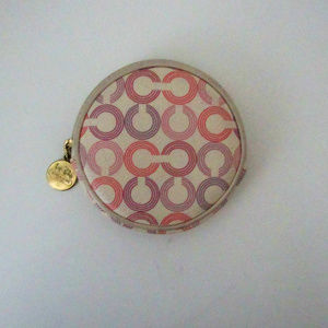 Coach Op Art Cream Round Coin Purse